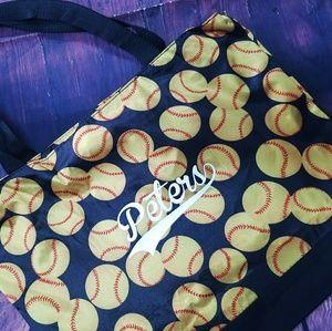 Personalized silk softball tote